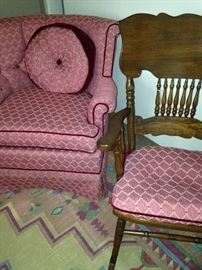 Bedroom chair and antique rocker with matching fabric