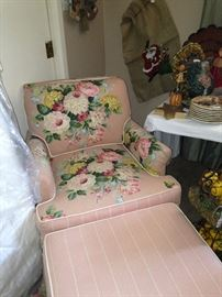 Floral bedroom chair & ottoman - perfect for shabby chic
