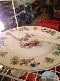 """Royal Crown"" Staffordshire, England china cake plate and server (has matching dessert plates)"