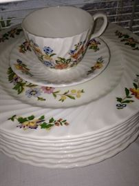 "Aynsley ""Cottage Garden"" English bone china (dinner plates, salad plates, cups, and saucers)"