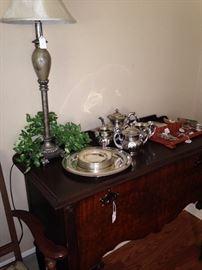 Antique silver chest; silver plate tea service