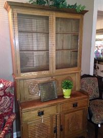 Antique hutch provides great display and storage areas