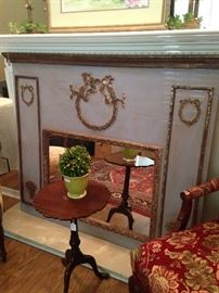 Antique mirror; small candle table