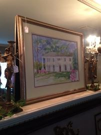 Framed art of the Tyler house on West Sixth from where many of these consignments arrived (due to a downsizing situation);  pair of antique candle holders