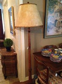 Good-looking oak floor lamp with beaded shade