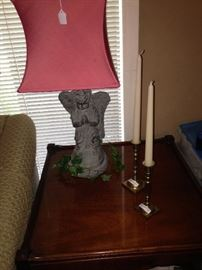 One of two similar angel lamps; lovely side table