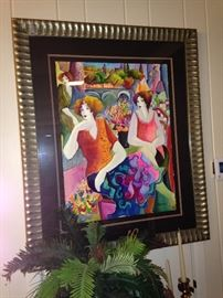 Fun, colorful ladies - original framed watercolor by Patricia Govezensky