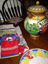 Vintage linens; Biscotti jar; colorful plates made exclusively for Neiman Marcus