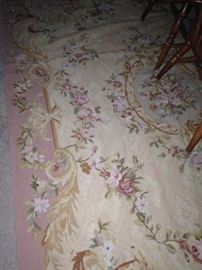 5 1/2 feet by 9 feet antique Aubusson floral rug