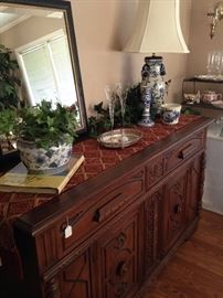 Antique English oak buffet; blue and white selections