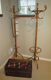 2 coat racks, antique wooden box, Detroit, MI