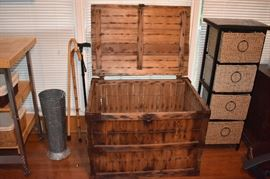 "Antique Wooden Box with lettering Front and Back that say ""McKenzie Laundry Company"" plus walking canes, umbrella stand and basket organizer unit"