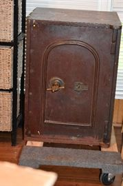 Victorian Floor Safe with original key. Notice the knob is in the shape of a hand!