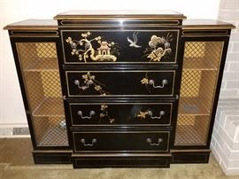 Oriental chest bookcase desk