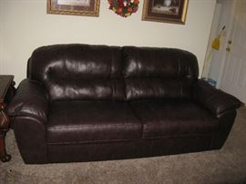 BROWN VINYL COUCH -LIKE NEW!