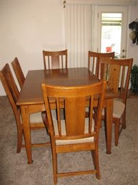 WOOD DINING ROOM TABLE, 6 CHAIRS WITH INLAID WOOD