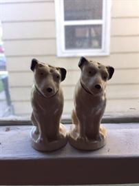 "Small ""Nipper the Dog"" Salt and Pepper Shakers."
