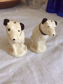 "Larger ""Nipper the Dog"" Salt and Pepper Shakers."