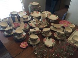 Tons of Desert Rose Franciscan pottery and glassware