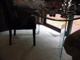 Glass top and base dinning table