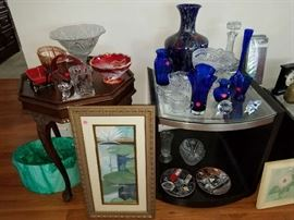 Antique Glassware and Lilypad Painting