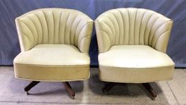"""1960's Channel Back Swivel Seat Chairs, Qty 2, 29""""W x 28.5""""H"""