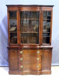"""Harmony House Curved Front China Hutch with Dovetail Constructed Drawers, 45""""W x 69.5""""H x 17""""D"""