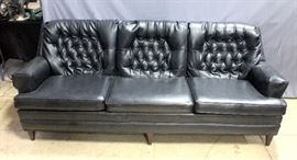 "Vintage Retro Naugahyde Leather Style Sofa, 87""W x 32""H x 24""D"