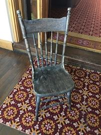 Several various antique wooden chairs. Great for farm house look.