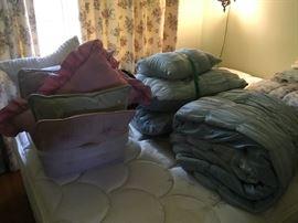 Bedroom pillows, comforters, bedding