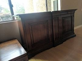 """•Walnut natural wood buffet with storage drawers and locking cabinets •Measures 86"""" L by 43"""" W by 18"""" H"""