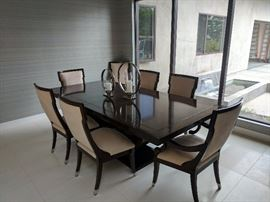 """Tiger Wood Dining Table & Chairs •Contemprorary  Custome Laquer finished wood dining table & ten (10) matching chairs •Measures 96"""" L by 46"""" W by 31.5"""" H without extension leaf, and 116"""" L with leaf."""