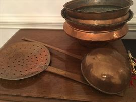 Iranian Copper pieces - strainer and ladle have design on copper