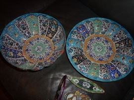 Hand Painted bowl and platter/Enamel/from Iran