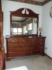 Beautiful, Walnut dresser with mirror and brass pulls