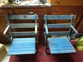 1920's original Yankees stadium seats. (one has some damage, can be fixed)
