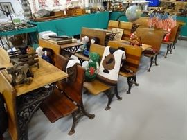 Antique school desks.