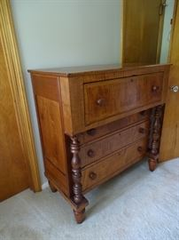 American Empire Tiger maple & cherry chest of drawers.