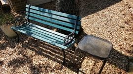 Teal park bench / patio side table