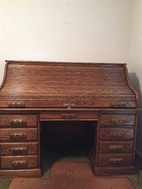 Roy Ola Solid Oak Roll Top Desk