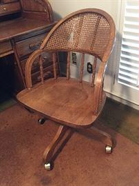 Solid Oak Rolling Desk Chair