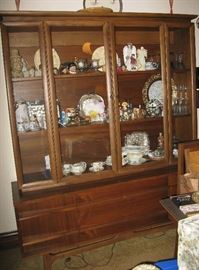 MCM dining room set, filled with collectibles