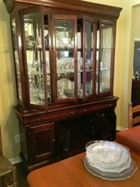 LIGHTED CABINET WITH CRYSTAL AND LENOX CHINA