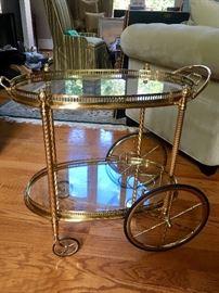 Brass serving cart