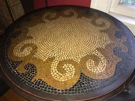 Bistro Set; metal table base and chairs with decorative mosaic table top