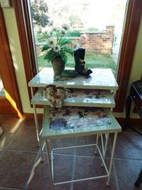 Set of 3 mosaic top nesting tables