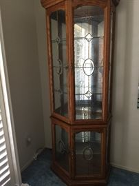 """Lighted curio cabinet with etched glass in front/sides  approx 75"""" ht   31"""" w   17"""" depth"""