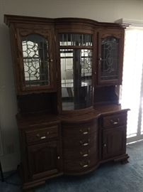 """Glass top hutch with 2 cabinets on the bottom and 6 drawers     approx 58"""" w   18"""" depth  77"""" ht"""