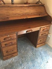 """Beautiful Roll top desk  approx 51"""" width   28"""" depth  46"""" ht"""