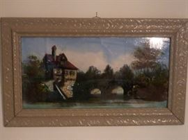 Victorian Art Reverse Painted on Glass- Millhouse